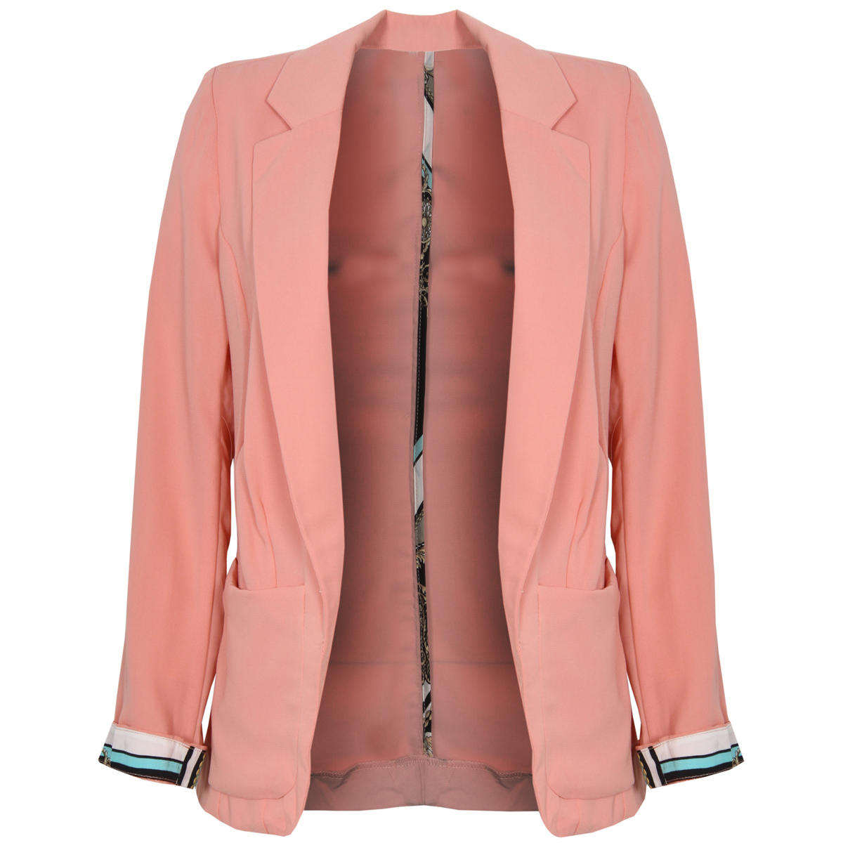 Lighweight Coral Blazer With Scarf Print Cuffs Preview